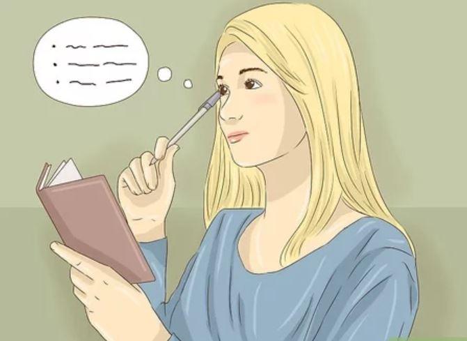 a girl is memorizing