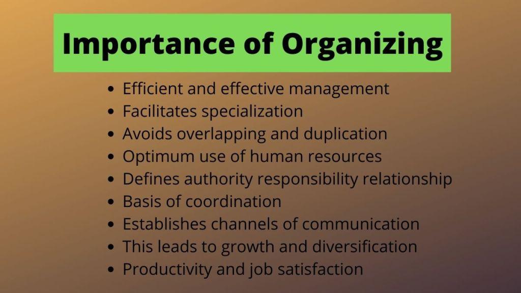 importance of organizing
