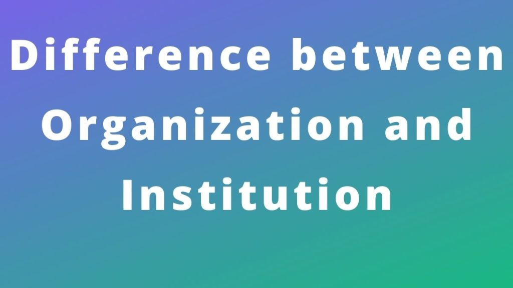 Difference between Organization and Institution