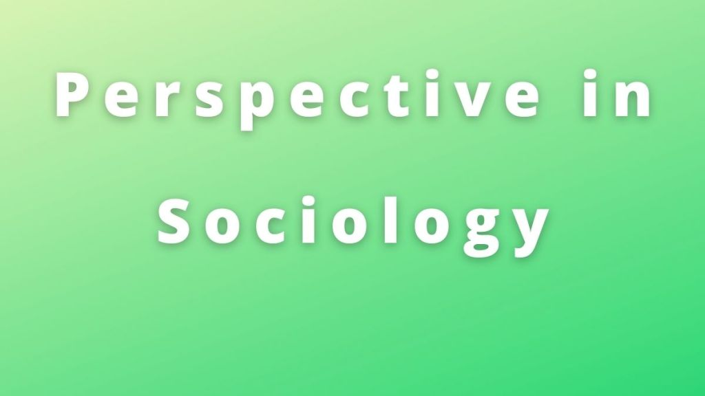Perspective in Sociology