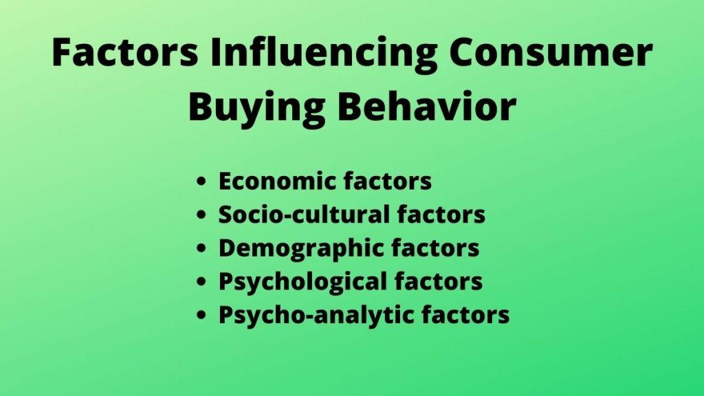 Factors Influencing Consumer Buying Behavior
