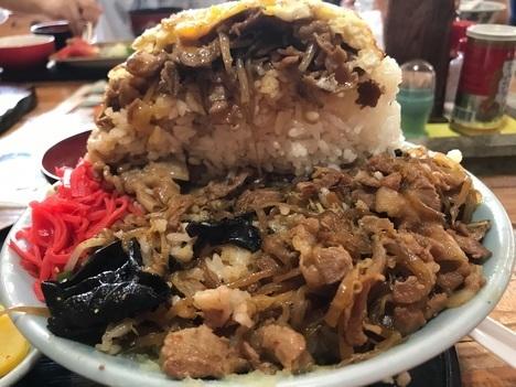 秋田山の五代デカ盛りスタミナ丼ダフルチョモランマ断面
