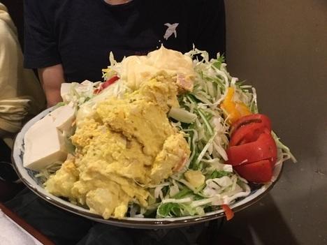 上板橋デカ盛り居酒屋花門オフ会巨大サラダ