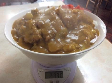 渋川林屋食堂特大カツカレー計量