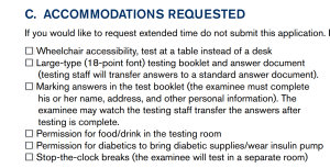ACT Accommodations for Diabetic Students