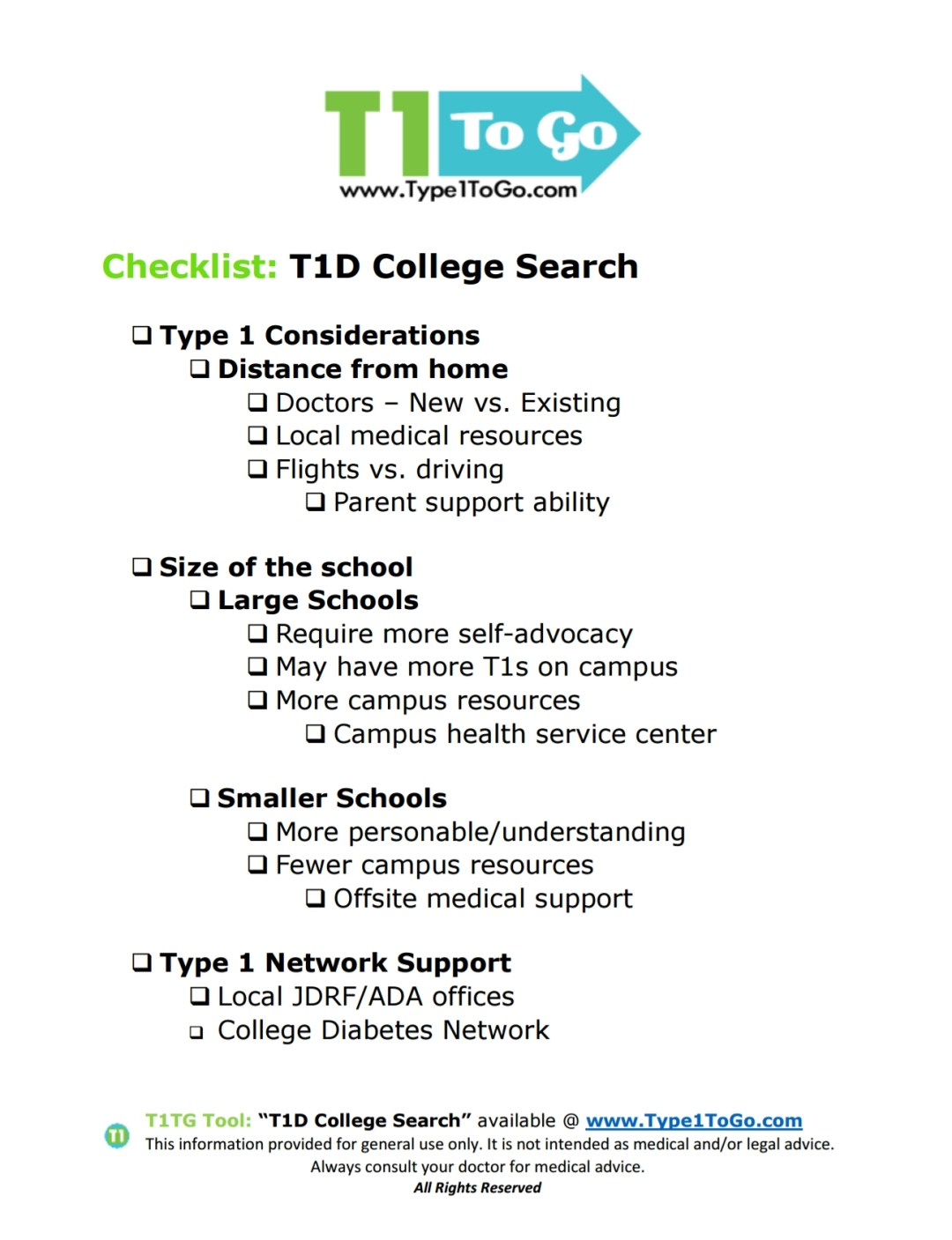 Searching for College with Type 1 Diabetes