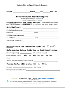 Activity Plan for Type 1 Diabetic Students