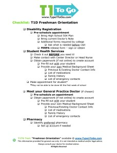 T1D Checklist for Freshman Orientation
