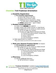T1D Checklist for Freshman Orientation