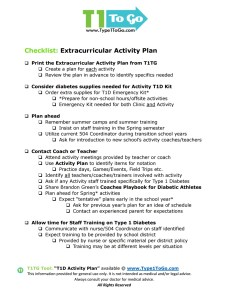 T1D Activity Plan Checklist