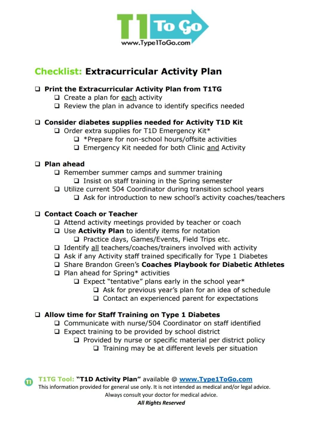 Type 1 Diabetes Extracurricular Activities Checklist