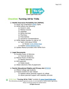 Turning 18 Checklist for Type 1 Diabetics Page 1 of 2