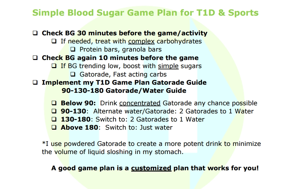 Blood sugar plan for sports with type 1 diabetes