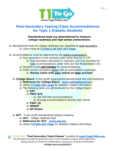 ACT & SAT accommodations for students with Type 1 Diabetes