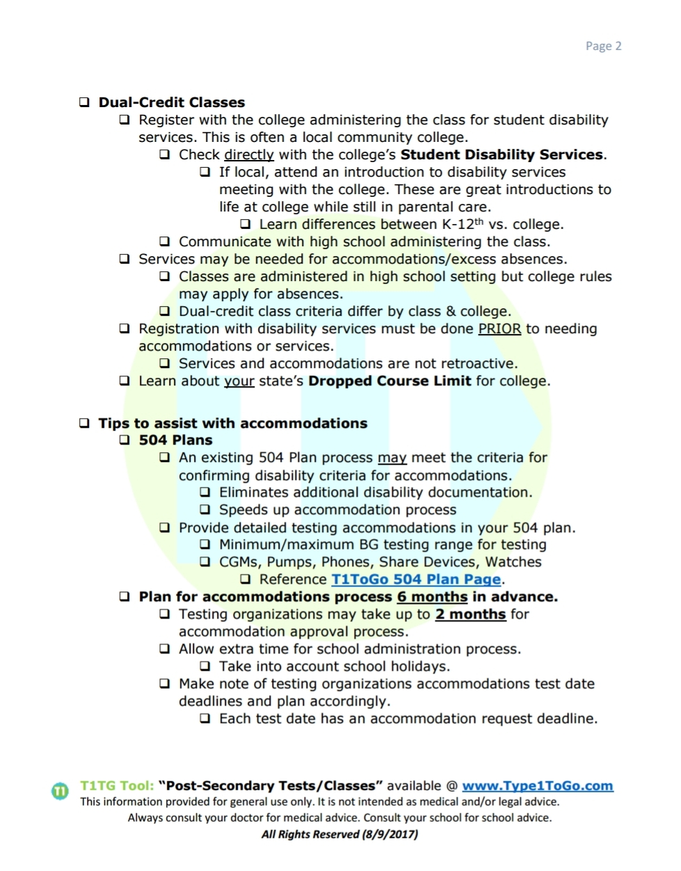 Handout for ACT & SAT Testing accommodations for Type 1 Diabetic Students.