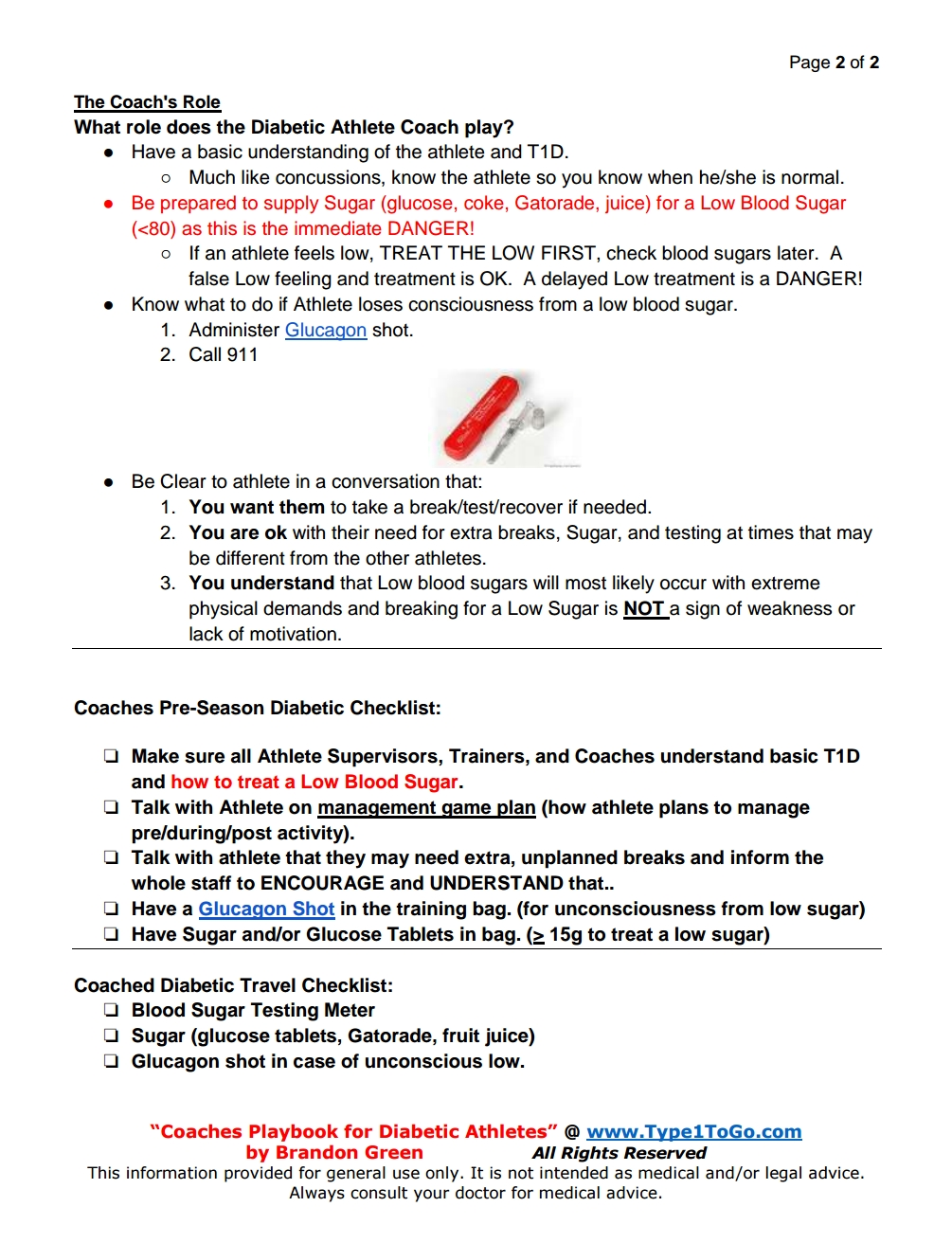 A guide for coaches with Type 1 diabetic athletes page 2