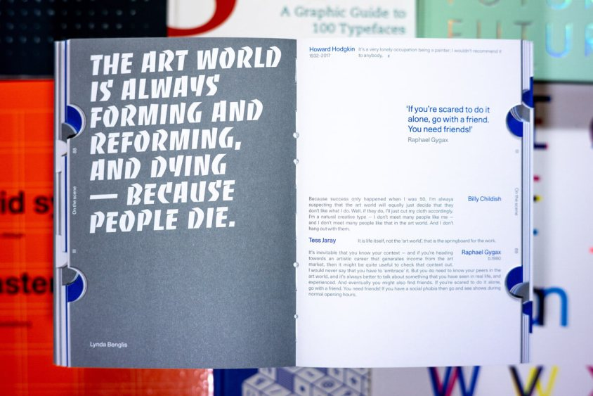 Spread featuring a quote by Lynda Benglis.