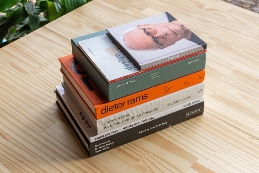 A collection of books on Dieter Rams