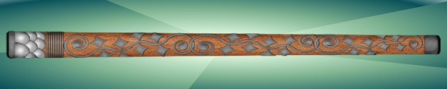wooden cane with metal scrollwork