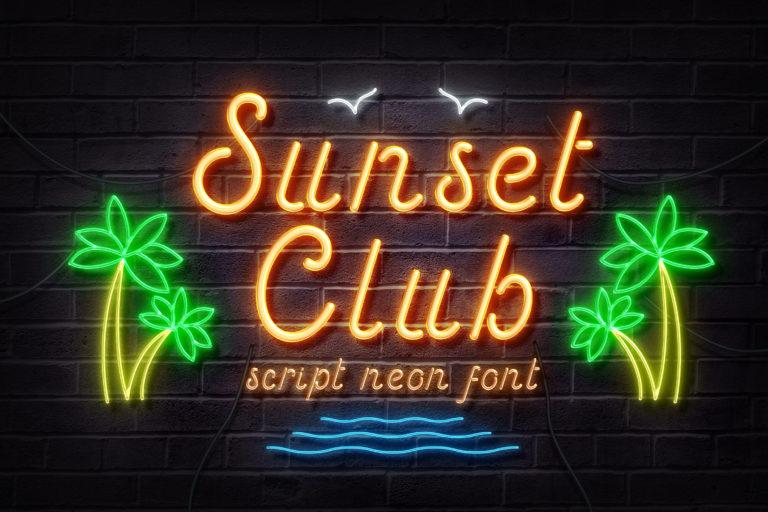 Sunset Club - Script Neon Font