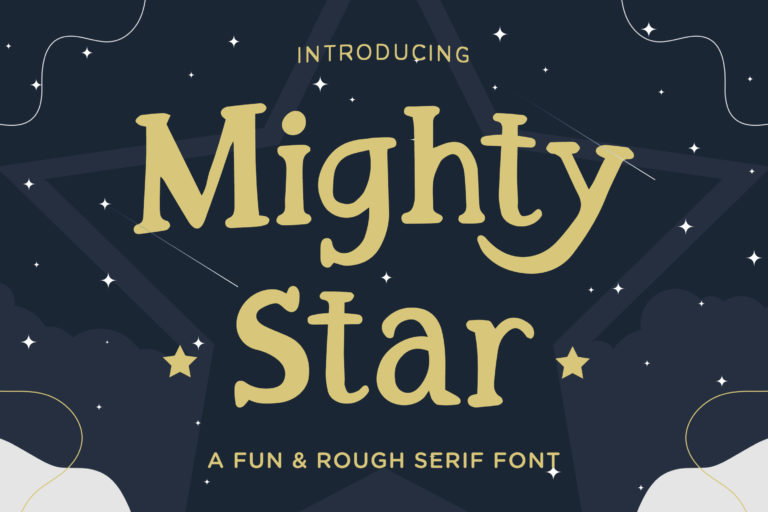 Mighty Star - a Fun and Rough Serif Font