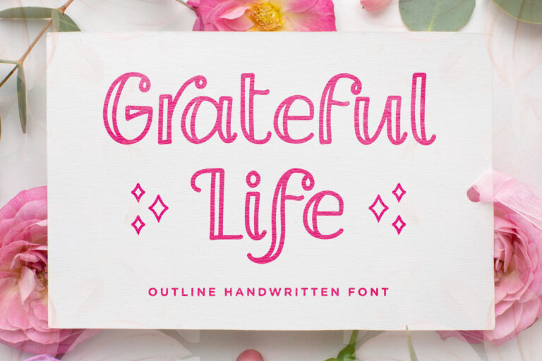 Grateful Life - Outline Handwritten Font