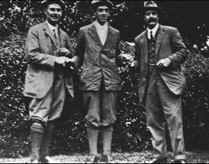 Ouimet with Vardon & Ray, US Open, 1913.