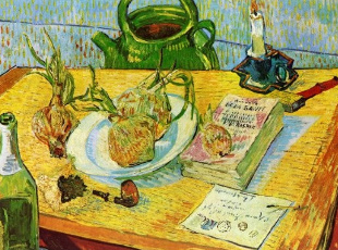 """Vincent van Gogh, """"Still Life with Drawing Table,"""" 1889"""