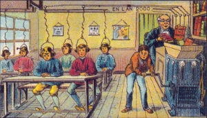 """Attributed to Jean Marc Cote (1901) or Villemard (1910), """"French School in the Year 2000"""""""