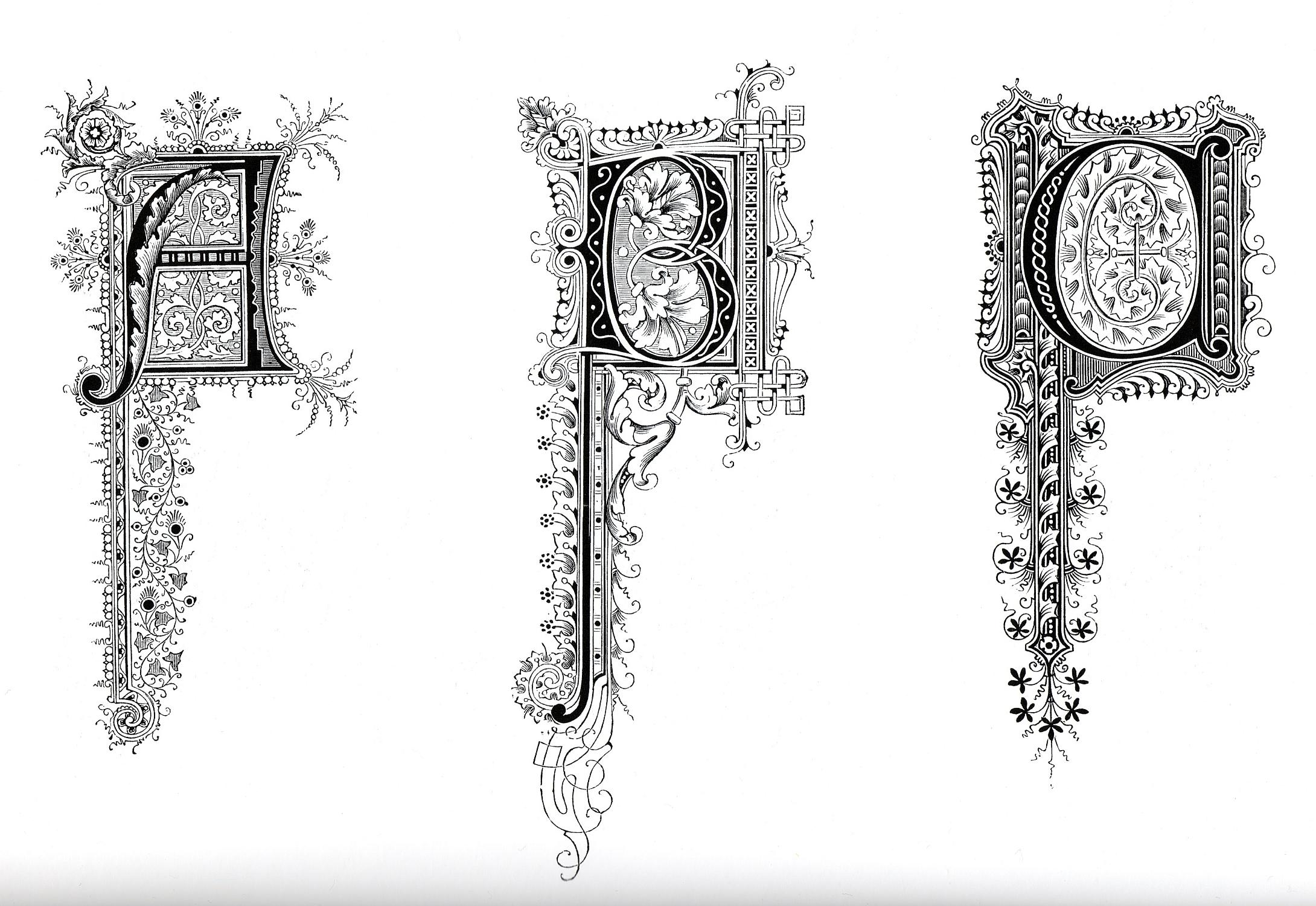 Illuminated Letters Alphabet Coloring Pages. Illuminated
