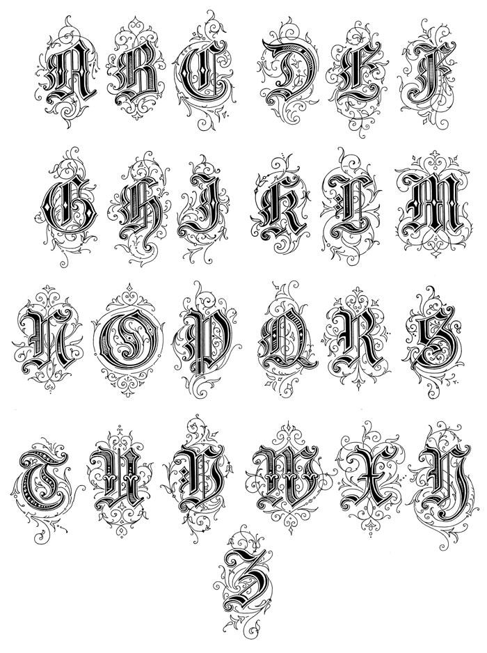 Typography Alphabet Ornamental, Renaissance, medieval (27