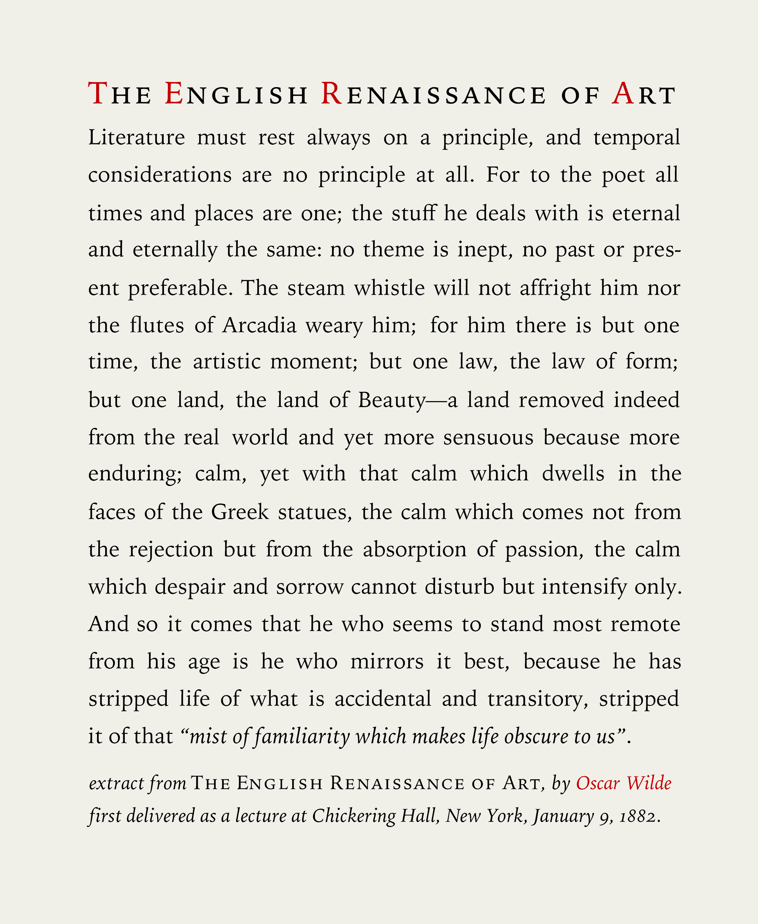 Oscar Wilde The Renaissance Of English Art Circa