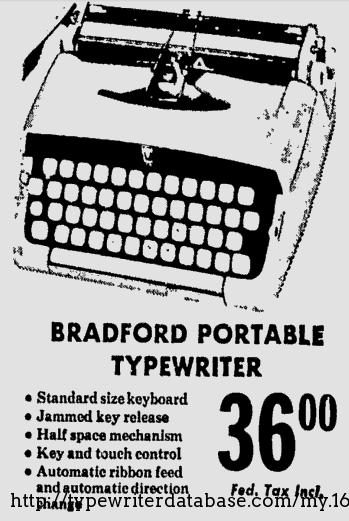 1961 Bradford JP-1 Typewriter #P149534 TWDB