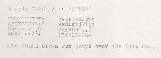 196X Argyle P-201 on the Typewriter Database