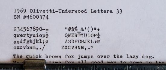 1969 OlivettiUnderwood Lettera 33 on the Typewriter Database