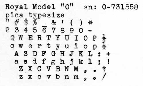 1938 Royal O on the Typewriter Database
