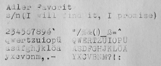 1937 Adler Favorit on the Typewriter Database