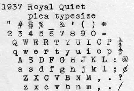 1937 Royal Quiet on the Typewriter Database