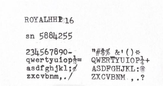 1952 Royal HH on the Typewriter Database