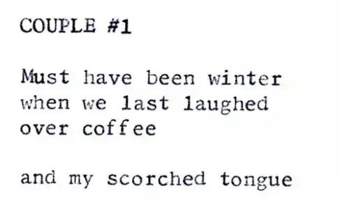 """""""Couple #1"""" by Billimarie Lubiano Robinson - Typewriter Poetry (2012)"""