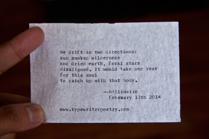 Untitled: February 13th 2014 by billimarie typewriter poetry
