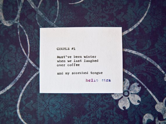 "Etsy Typewriter Poetry Poem ""Couple #1."" Medium shot against midnight blue and white baroque card stock."