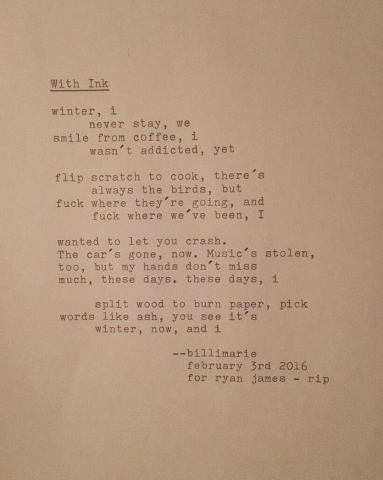 """""""With Ink"""" by Billimarie Lubiano Robinson - Typewriter Poetry"""