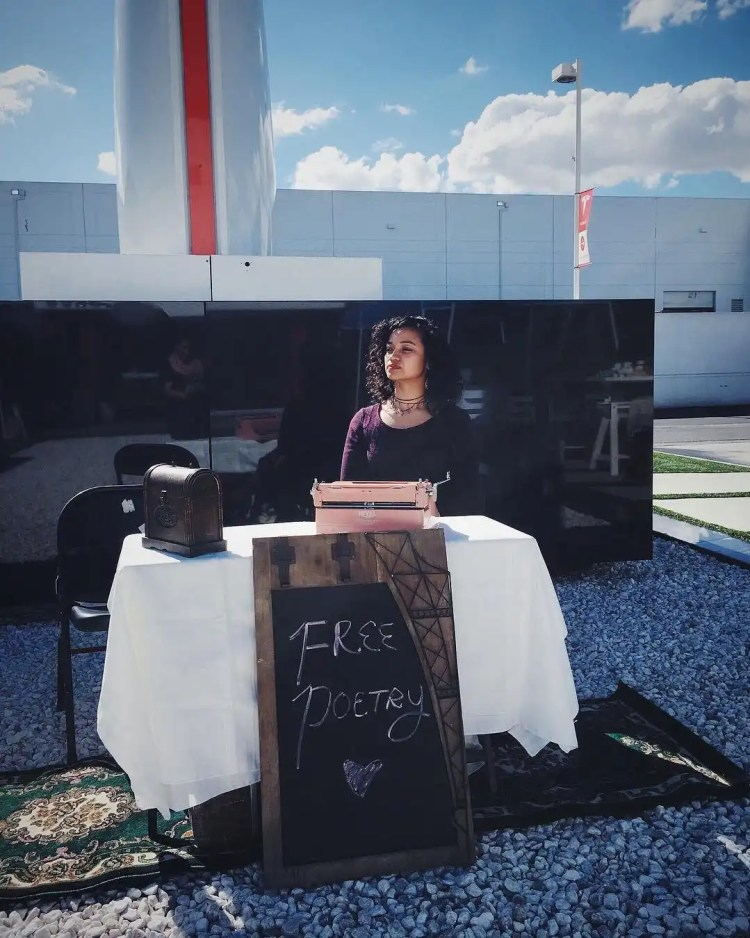 """""""Free Poetry"""" at SpaceX & Tesla for Valentine's Day - Typewriter Poetry - Billimarie Lubiano Robinson, 2018"""