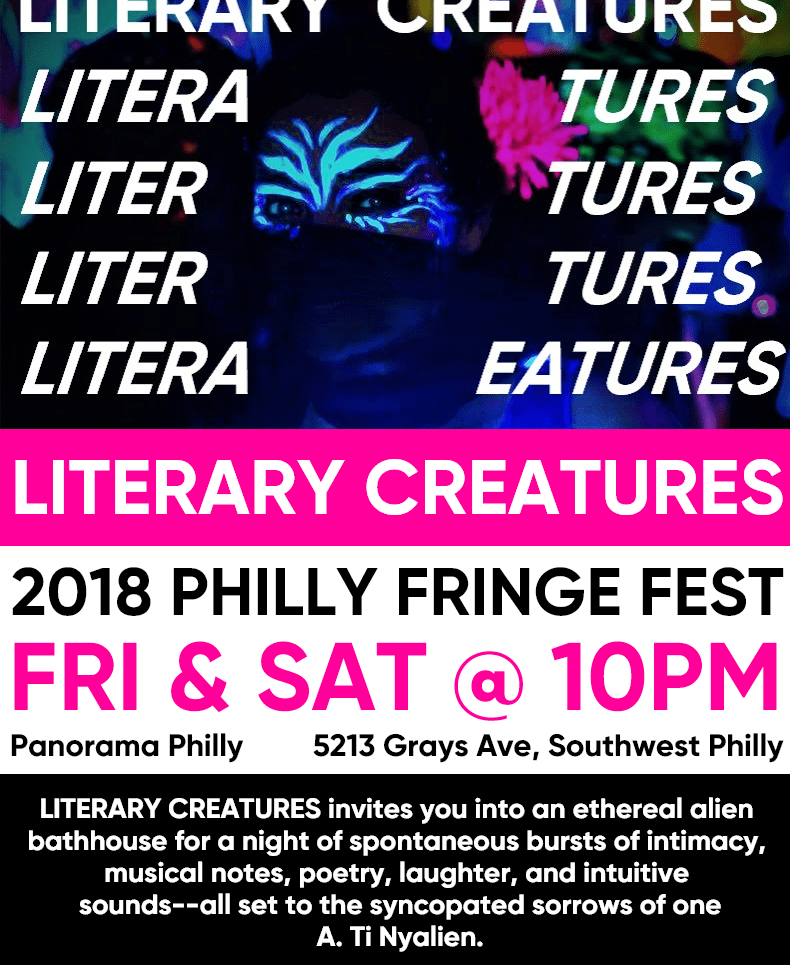 "Neon Flyer for ""Literary Creatures"" by Billimarie Lubiano Robinson - Philly Fringe Fest, 2018"