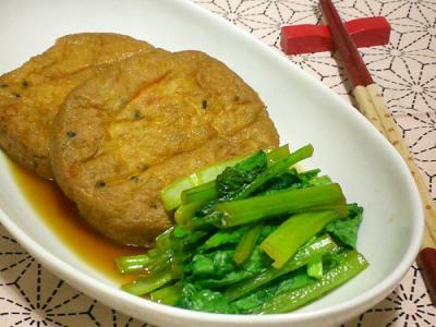 がんもどきと小松菜の炊き合わせ