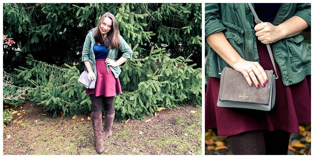 The perfect outfit for fall and Thanksgiving. Comfortable Thanksgiving outfit with fleece lined leggings.