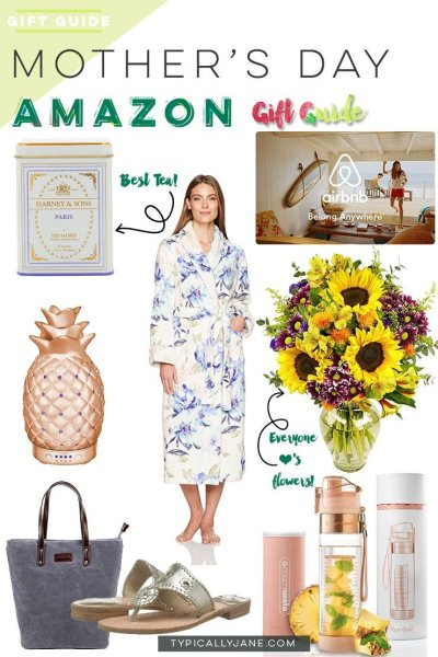 gifts for mother's day from amazon | tea, diffuser, tote bag, robe, airbnb gift card, flowers, sandals, infused water bottle