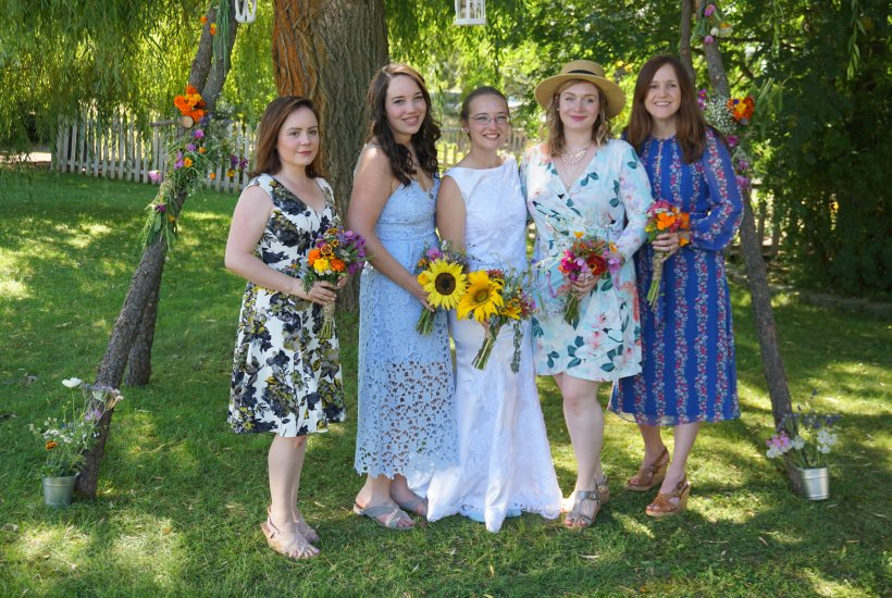 country summer wedding mismatched bridal party bridesmaids dresses