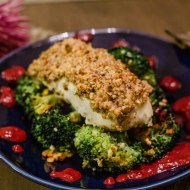 Pecan & Parmesan Crusted Baked Halibut with Blackberry Lime Sauce